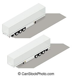 Tarpaulin semitrailer isometric detailed icon vector graphic...