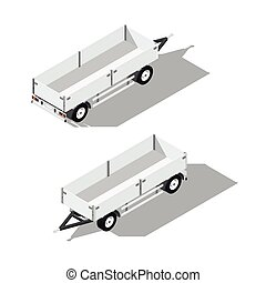 Sider trailer isometric detailed icon vector graphic...