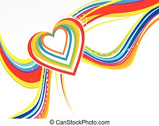 abstract colorful line wave with heart.eps - abstract...