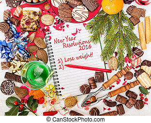 Christmas food, feast and new year resolution to diet. 2016....
