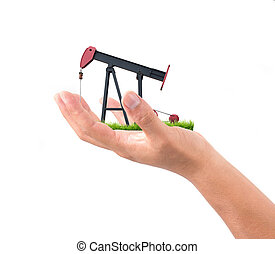 hand hold pumpjack isolated on white background