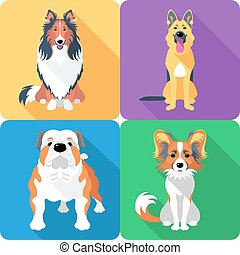 Set dog head icon flat design - Vector dog Rough collie,...