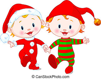 Christmas Babies - Two cute babies with Christmas costumes...