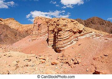 Scenic striped rocks in stone desert near Eilat in Israel