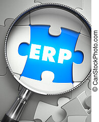 ERP- Puzzle with Missing Piece through Loupe. - ERP-...