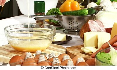 Cooking pizza - The eggs with the milk whisk electric mixer...