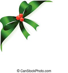 Green ribbon - Page corner with green ribbon and bow. Place...