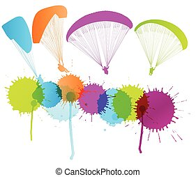 Paragliding vector background concept with color splashes...