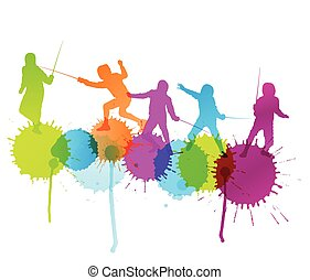 Fencing sport silhouette vector background concept with...