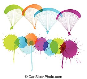 Paragliding vector background concept with color splashes