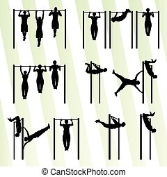 Muscular men doing pull ups bodybuilding fitness set vector...