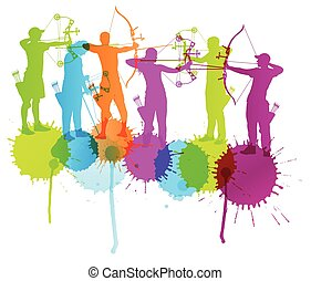 Archery vector background concept with color splashes for...