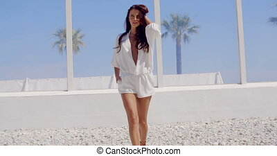Brunette Woman Walking on Tropical Beach - Attractive...