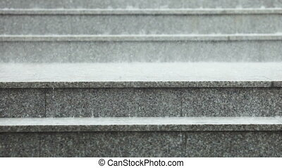Rain on granite steps - Abundant rain dripping on granite...