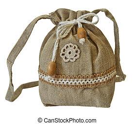hechaa mano, bolsa, lino