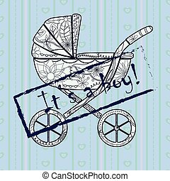 Its a boy card - Vector its a boy card
