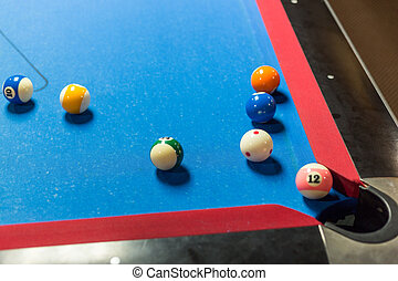 Pool table - Balls on a pool table with blue felt