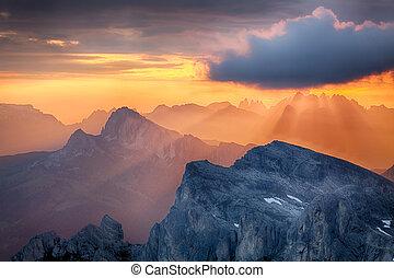 Sun rays, sunlight on mountain, Alp