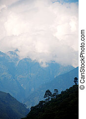 The Himalaya mountain peak with snow and amazing blue cloudy...