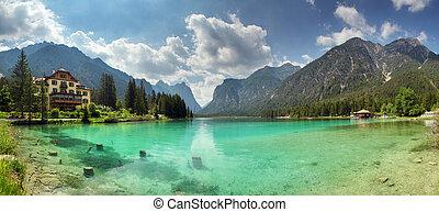 Panorama of Lake dobbiaco, Dolomites mountain