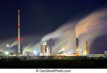 Oil refinery industry plant with smokestack