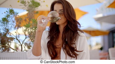 Elegant Sexy Woman Drinking White Wine - Slow Motion Video...