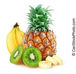 Tropical fruits (pineapple, banana, kiwi) over white...