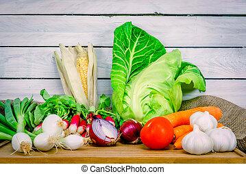 木製である, テーブル, 野菜