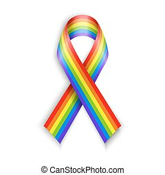 Rainbow Ribbons Isolated on white with transparent shadow...