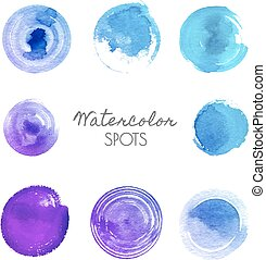 watercolor spots in different shades of blue