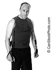 Man With Resistance Band - Adult man with a resistance band...