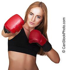 hermoso, mujer, con, el, rojo, boxeo, guantes,