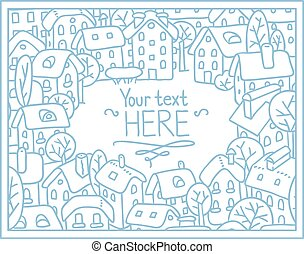 Greeting card with houses and courtyard - Greeting card with...