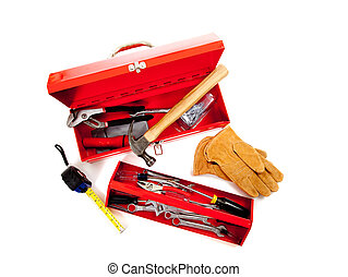 Red metal tool box with tools on white - Red metal tool box...