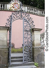 german archway - traditional german architecture with...