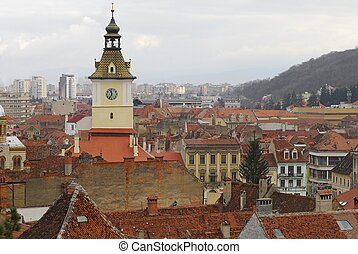 old - new town view of a Brasov city romania europe