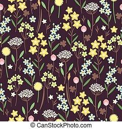 Meadow flowers seamless pattern