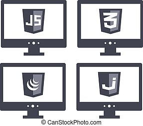 vector collection of web development shield signs - css3 and...