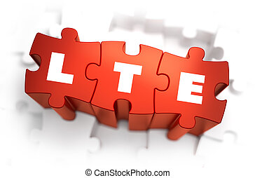 LTE - Text on Red Puzzles - LTE - Long Term Evolution - Text...