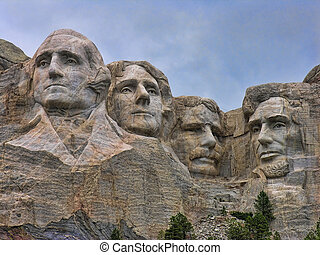 Mount Rushmore, South Dakota - Detail of Mount Rushmore,...