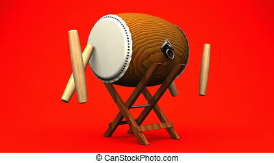 Asian Drum And Sticks On Red White Background