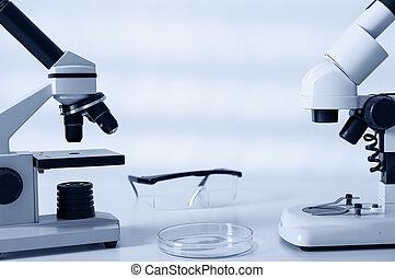laboratório, microscópio, lens.modern,...