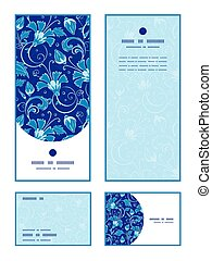 Vector dark blue turkish floral vertical frame pattern...