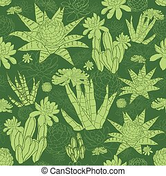 Vector Green Lineart Succulents Seamless Pattern graphic...