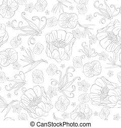 Vector Gray Drawing Tropical Flowers Seamless Pattern