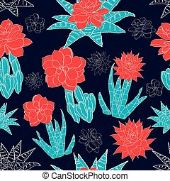Vector Night Desert Cacti Flowers Seamless Pattern