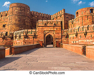 Entrance to Agra Fort - Agra Fort, The Unesco world Heritage...