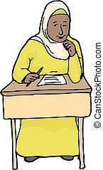 Grinning Student in Hijab - Cartoon of single student with...