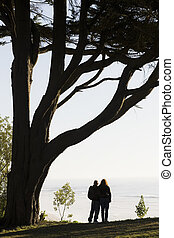 Couple Overlooking Ocean - Couple Standing Under Tree With...