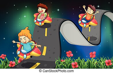Road trip - Children riding car on the curve road